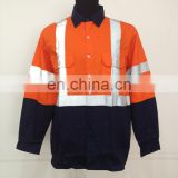 safety reflective work t shirt clothing custom hi vis long sleeve work shirt 100% cotton