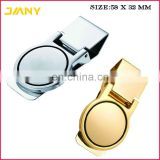 Custom Engraved Logo Metal Gold or Sliver Polished Stainless Steel Round Money Clip for Man