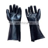 Rubber gloves black PVC glossy cotton lining with oil - proof and acid - proof durable gloves safety gloves