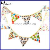 My Birthday Cartoon Owl Pennants Fabric Flag Party Decoration Banner Bunting for Kids PL021