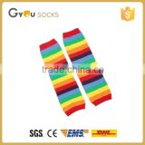 rainbow color stipes kids child leg warmers outdoor socks