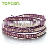 Topearl Jewelry Potato White Freshwater Pearl and Faced Amethyst Bracelet Woven Leather Wrap Bracelets for Best Friends CLL166