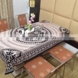 Indian Cotton Table Cloth Cream-Black Elephants Printed Dinning Table Cloth Vintage Wall Hanging Throw Bed Sheet Cover TC35
