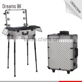 Stand Aluminum Professional Makeup cosmetic display Trolley Case beauty box with lights mirror