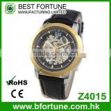 Z4015 Classic fashion style skeleton 3 atm Automatic movtu stainless steel 316L skeleton watch