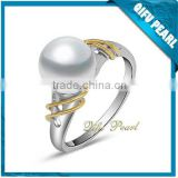 2014 New Designs18K White and Yellow Gold Latest Wedding Ring Designs with Freshwater Pearl