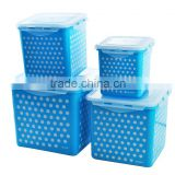 Four-piece square food storage container, BPA Free plastic food container POLK DOT Printing