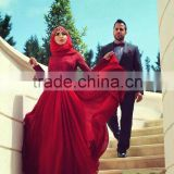 Muslim Evening Dresses A-line Long Sleeves Red Chiffon Appliques Lace Scarf Arabic Abaya Dubai Eveni