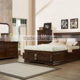 american style Big Louis Queen Transitional Storage Bed with Bookcase Headboard AS-B4