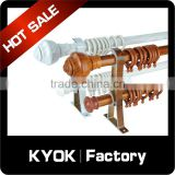 KYOK Antique design aluminum curtain poles,wood color aluminum alloy curtain poles,plastic curtain rings