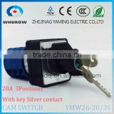 Cam switch LW26-20/3S with key to lock positons silver contact 20A 3 poles 3 positions 1-0-2 electrical rotary switch