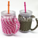 handmade paracord holder for plastic custom coffee mug with straws rope coffe cup holder paracord beach cup holder