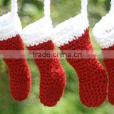 Wholesale Fashion Handmade Holiday Decor Red and Snow White Santa Crocheted Christmas Stocking