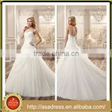 VDN48 Custom Made Hand Made Lace Appliqued Bridal Wedding Dress 2016 Floor Length Low Back Strapless Wedding Gown for Wedding