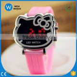LED007/LED Digital Cute Cat Face Silicone 12 Colors Hotest Jelly Silicone Watch Wristband Students Children Jelly Watches