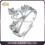 KSTONE Stylish high quality shiny highpolished stainless steel jewelry Crown Diamond Engagement Ring