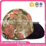 Hot sale floral 5 panel blank leather strap back hat