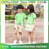 High quality primary school uniform green polo and lace skirt or khaki shorts customized