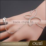 OUXI korean style 18k gold plated butterfly ring chain fashion bracelet 30357