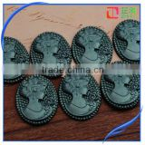 Wholesale resin lady cameo,loose falt back resin cameos for jewelry