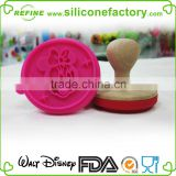 Distney audited factory for custom Minnie design silicone cookie stamp with wooden handle