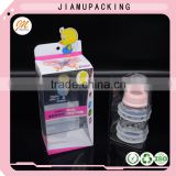 customized printed plastic folding storage packaging box with insert and clear window for sweet bottle