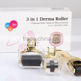 manufacturer skin care 3 in 1 kit microneedle gold sliver coating derma roller