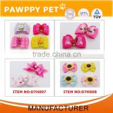 wholesale layered dog cat ribbon hair bows with rubber bands