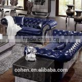 chesterfield mazarine genuine leather sofa designs with crystal buttons stainless steel legs SF006