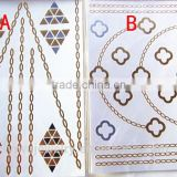 T002-005 cheap glitter environmental tattoo paper metallic gold removal wholesaler temporary anklet tattoo sticker