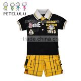 2016 Petelulu OEM Manufacturer China New Fashion Design Embroidery Jackets and Pants Black Denim Jacket For Boys