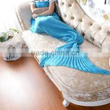 2017 best selling plain design adult knitted mermaid tail blanket