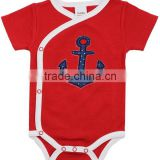 Red and write 3-6 months applique anchor summer wear short sleeve newborn organic cotton baby toddler clothing wholesale china