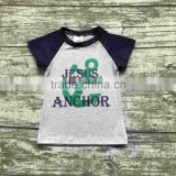 baby boy shorts sets boutique outfits cute cotton Jesus is my anchor top shirts raglans summer clothes gray black kids wear