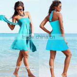 blue women wrap beach dress/sh wi fashionable 12 color summer beach dress