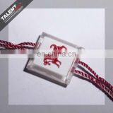 custom private design transparent garment string seal tag for garment hangtag