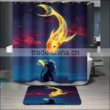 Polyester digital printed shower curtain luxury colorful shower curtains