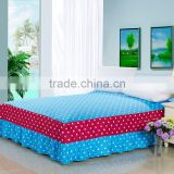 100% cotton red lace bed skirt + beautiful OEM design + reactive printing hotel bed skirt
