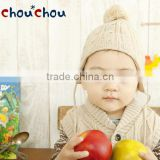 japanese wholesale border fashion knitted baby hat with bon bon and strap high quality infant wear child clothes