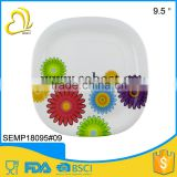 "high quality 9.5"" melamine square plastic plates disposables"