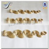 Wholesale top quality body wave blonde virgin brazilian human hair clip in hair extensions