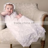 NEW ARRIVAL floral embroidered lace and pearl buttons christening gowns for girls                                                                         Quality Choice