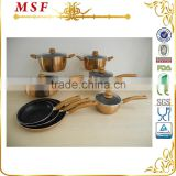 MSF 13pcs metallic coating aluminum cookware kitchen set with induction bottom MSF-6690