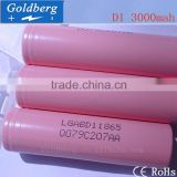 Ali supplier wholesale 18650 LG 3000mah 3.7v pink li-ion battery cells LGABD1 LG D1 18650 3000mAh battery for digital camera