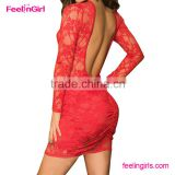 Sexy OL Red lace seelve vestido de festa women dress