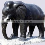 Black Outdoor Elephant Statue Hand Carving Stone Sculpture For Garden, Hotel, Resort And Restaurant