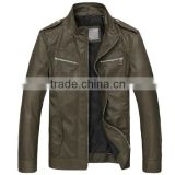 Indian style cool fashion design bike pu leather jacket men