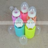 Debossed/embossed brand&logo baby feeding bottle with nipple,kids milk drink nipple bottle,silicone glass bottle