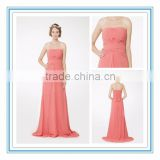 New Elegant Strapless V-Draped Natural Waist Bridesmaid Gown Long Peach Chiffon Bridesmaid Dress Patterns 2015(RHM-2103)