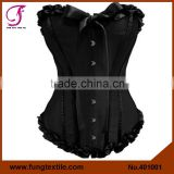 401001 Woman Satin Overbust Steel Boned Ribbon Black Corset UK